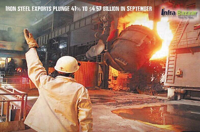 Iron steel exports plunge 41% to $4.57 billion in September |Infra Bazaar