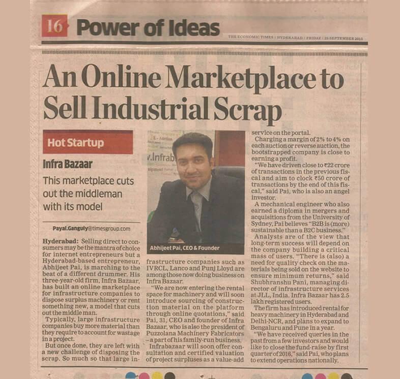 Infra Bazaar Featured in Economic Times |Infra Bazaar